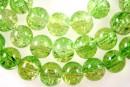 Margele sticla crackle, verde lime-auriu, 10mm - x40