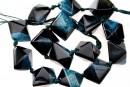 Natural agate, druzy quartz , black - blue sea, 3D square, 23mm