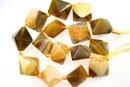 Natural agate, druzy quartz , golden - olive, 3D square, 23mm