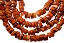 Coral, maro caramel, discuri in forma naturala, 11-15mm