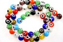 Margele Evil eye, rotund, multicolor, 8mm