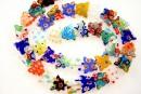 Margele millefiori, fluturi, multicolor, 12mm