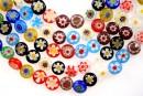 Margele chevron, disc, multicolor, 8mm