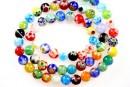 Margele chevron, rotund, mix multicolor, 6mm