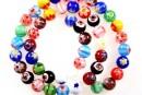 Margele chevron, rotund, mix multicolor, 8mm