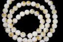 Margele chevron, rotund, alb, 6mm