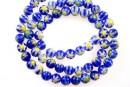 Margele chevron, rotund, albastru, 6mm