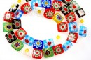 Margele chevron, patrat, multicolor, 10mm