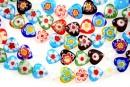 Margele chevron, inima, multicolor, 10mm