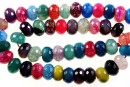 Natural agate, dragon vein multicolor, faceted rondelle, 12mm
