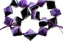 Natural agate, druzy quartz geode, purple, pyramid, 22mm