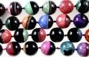Natural agate, druzy quartz geode, multicolor, round , 24mm