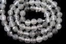 Grey cloudy quartz, faceted round, 6mm