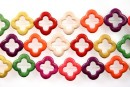 Multicolor magnesite, flower frame, 20mm