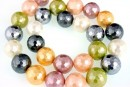 Perle Mallorca, rotund fatetat, multicolor, 14mm