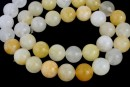 White yellow jade, round, 10mm