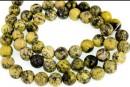 Yellow turquoise, round, 8mm