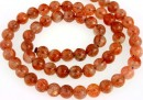 Natural clear sunstone, A+ grade, round, 6mm