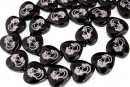 Onix, black, painted, heart with cameo, 14mm