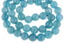 Blue angelite quartz, intense, faceted round, 8mm