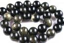 Golden sheen obsidian, round, 4mm