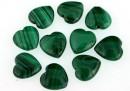 Malachite, natural stone, flat heart, 10x10mm - x10