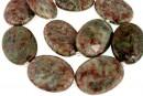 Natural green garnet, flat oval, 40x30mm