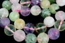 Mix white, pink quartz, prehnite, amethyst, citrine, microfaceted round, 14mm