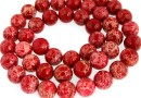 Sediment jasper, red, round, 9mm