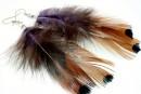 Cercei pene exotice, 9-10cm, mov-maro