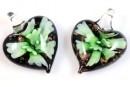 Pandantiv Murano, inima, verde, 27x21mm - x2