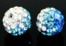 Margele shamballa, crystal-blue zircon, 10mm - x2