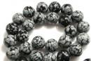 Snowflake obsidian, round,14mm