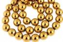 Golden hemalyke (hematit), round, 10mm