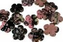 Rhodonite black veins, flower, 30mm