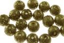 Perle sticla efect, oliv intens, 10mm - x30