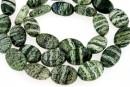 Silver serpentinite, flat oval, 14.5x10mm