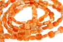 Orange calcite, flat square, 8x8mm