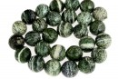 Silver serpentinite, faceted round, 14mm