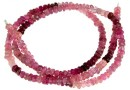 Pink tourmaline, natural stone, faceted rondelle, 3.7mm