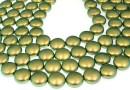 Perle Swarovski disc, iridescent green pearl, 16mm - x2