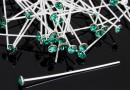 Ace cu cu cap cristal Swarovski, emerald, argint 925, 40mm - x1