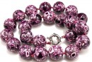 Mosaic stone, round, purple - fuchsia, 18mm