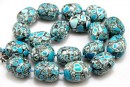 Mosaic stone, round tube, turquoise - white, 22x17mm