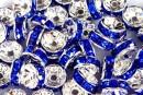 Spacer Rhinestone albastru cobalt, 8mm - x10