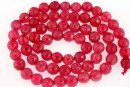 Jade, faceted round, pink, 6mm
