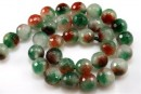 Jade, faceted round, ruby green, 12mm