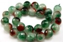 Jade, faceted round, ruby green, 14mm