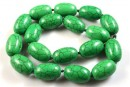 Green magnesite, oval tube, 22.5mm