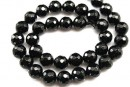 Onix, black, faceted round, 10mm